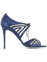 Rene Caovilla Tie Up Sandals Blue