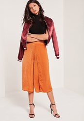 Missguided Hammered Satin Wrap Split Culottes Tan Brown