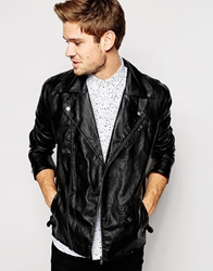 Selected Faux Leather Jacket Black