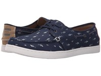 Toms Culver Lace Up Shark Printed Canvas Men's Lace Up Casual Shoes Navy