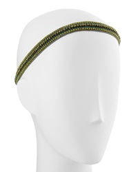 Deepa Gurnani Multi Row Headwrap Bronze Gold Teal