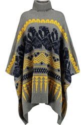 Vionnet Intarsia Wool Blend Turtleneck Poncho Blue