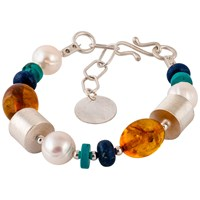 Be Jewelled Sterling Silver Amber Pearl Turquoise And Lapis Bracelet Multi