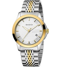 Gucci Ya126409 G Timeless Collection Stainless Steel And Yellow Gold Pvd Watch Silver