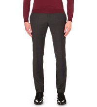 Hugo Boss Tailored Fit Tapered Wool Trousers Charcoal