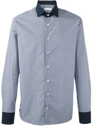 Etro Contrast Collar And Cuffs Shirt Blue
