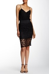 Lily White Crochet Midi Skirt Black