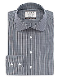 Thomas Pink Holmes Check Athletic Fit Button Cuff Shirt Navy White