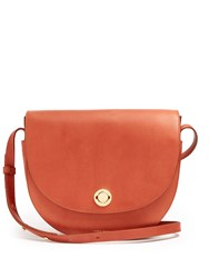 Mansur Gavriel Saddle Leather Shoulder Bag Dark Tan