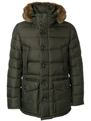 Moncler Padded Parka Coat Feather Down Polyamide Coyote Fur Goose Down Green