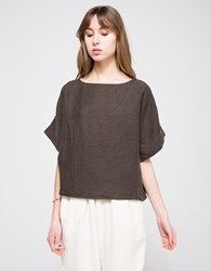 Black Crane Linen Square Top In Charcoal