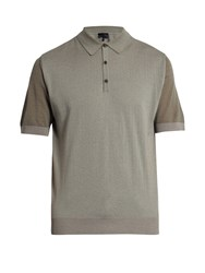 Lanvin Short Sleeved Wool And Cotton Blend Polo Shirt Grey