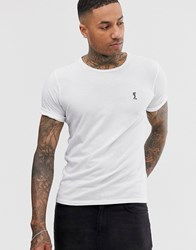 Religion T Shirt With Rolled Sleeves In White