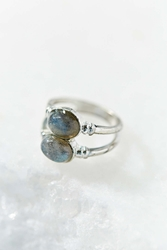 Urban Outfitters Double Moonstone Ring Silver