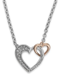Macy's Diamond Double Heart Pendant In Sterling Silver And 14K Rose Gold 1 5 Ct. T.W. No Color