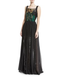 Elie Saab Sleeveless Floral Embroidered Bodice Chiffon Lace Skirt Evening Gown Black Pattern