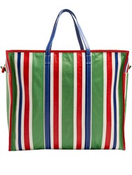 Balenciaga Bazar Extra Large Grained Leather Tote Green Stripe