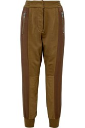Haider Ackermann Paneled Cotton Blend And Linen Track Pants Army Green