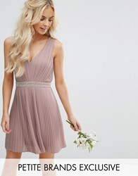 Tfnc Petite Wedding Embellished Open Back Mini Prom Skater Dress Mauve Pink