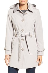 Gallery Women's Silk Look Belted Trench Coat Whisper