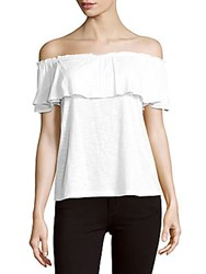 Saks Fifth Avenue Red Wilma Solid Off The Shoulder Top White