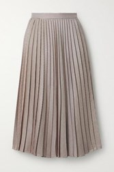 Adam By Adam Lippes Pleated Houndstooth Silk And Wool Blend Skirt Beige