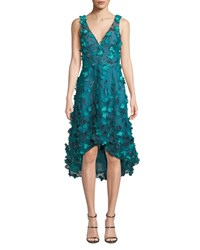 Marchesa Sleeveless High Low 3D Flower Dress Teal
