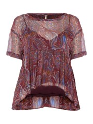 Free People Say You Will Short Sleeve Top In Plum Plum