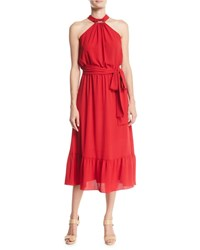 Michael Michael Kors Halter Ruffle Dress Red Currant