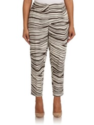 Lafayette 148 New York Plus Size Zebra Print Stanton Pants Granite Multi