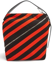 Proenza Schouler Hobo Medium Striped Knit Bag Black Red