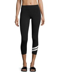 Marc New York Track Stripe Cropped Leggings Black White