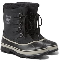 Sorel Caribou Waterproof Nubuck And Rubber Snow Boots Black