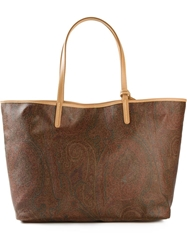 Etro Floral Paisley Print Shopping Tote Brown