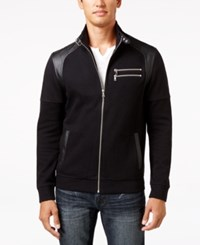Inc International Concepts Men's Fire Knit Moto Jacket Only At Macy's Deep Black