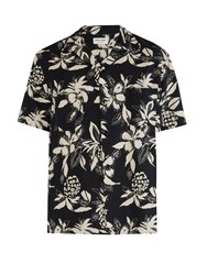 Saint Laurent Hibiscus Print Short Sleeved Shirt Black Multi