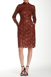 Mikael Aghal Faux Leather Crochet Cocktail Dress Red