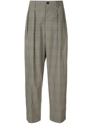 Tomorrowland Plaid Tailored Trousers Grey