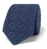 Marwood 6Cm Cotton Lace And Silk Twill Tie Navy