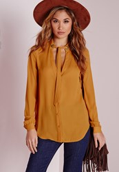 Missguided Pussybow Eyelet Detail Blouse Yellow Yellow