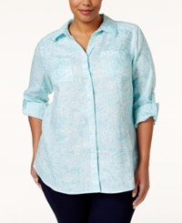 Charter Club Plus Size Paisley Button Down Shirt Only At Macy's Angel Blue Combo