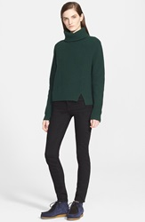Proenza Schouler Ribbed Wool And Cashmere Turtleneck Sweater Dark Green