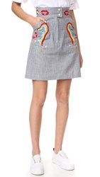 Olympia Le Tan Early Pearl Skirt Blue