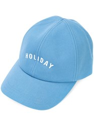 Holiday Branded Cap Women Cotton One Size Blue