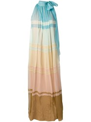 Alberta Ferretti Colour Gradient Maxi Dress Blue