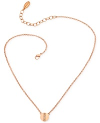 T Tahari Rose Gold Tone Nailhead Crystal Pendant Necklace