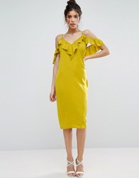 Asos Satin Ruffle Cami Cold Shoulder Midi Dress Chartreuse Yellow