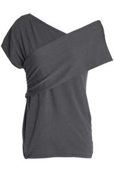 Charli Varimont Ruched Stretch Knit Top Anthracite