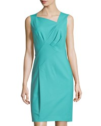 Lafayette 148 New York Melanie Pleated Sleeveless Sheath Dress Topaz
