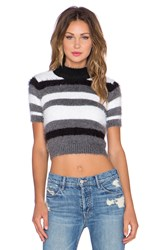 For Love And Lemons Fleetwood Knit Crop Top Black And White